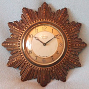 Beautiful Vintage 1940's Sunburst Wall Clock - Wind Up - Smiths 8 Day