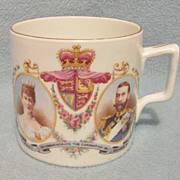 SOLD Antique 1911 King George V Coronation Commemorative Mug - Lovely Detailing, Bone China -