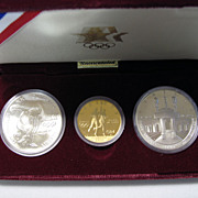 1983/1984 US Olympic Commemorative Gold & Silver 3 Coin Set