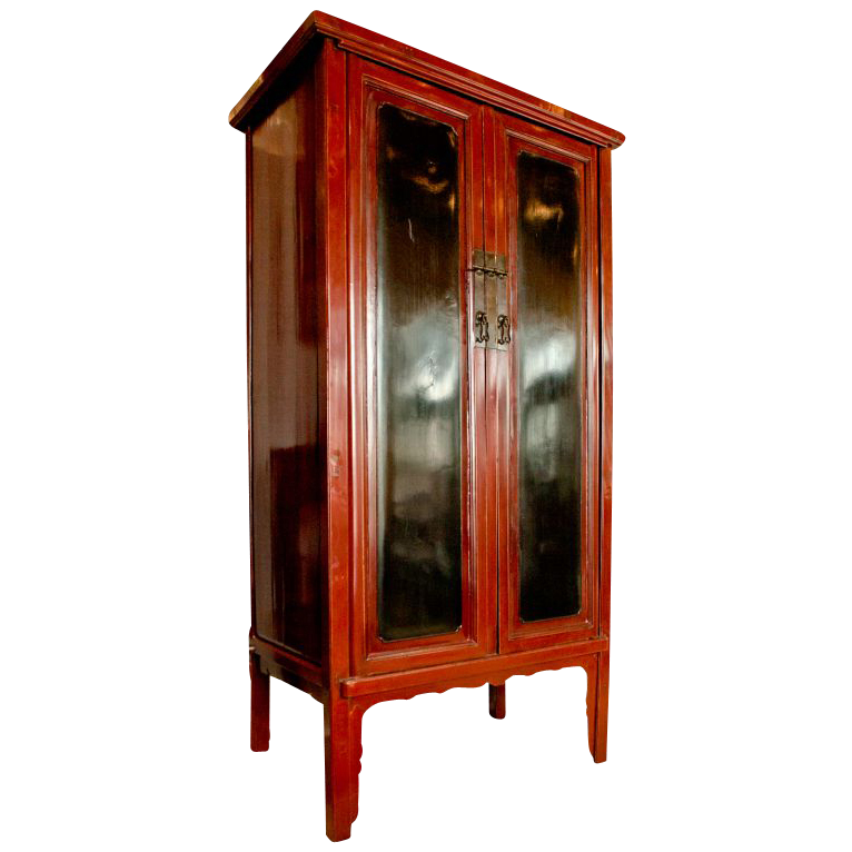 19th century Namwood red & black lacquer cabinet