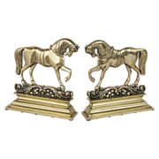 REDUCED Pair of 19th Century Cast Brass Horse Bookends