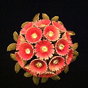 SALE Vintage Enamel Corocraft Aster Nosegay Flower Brooch / Pin
