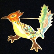 Vintage Colorful Taxco Sterling JF Enamel Roadrunner