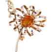 Vintage 14K tri colored gold, citrine and diamond brooch 1970's