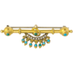 Antique Victorian 14k yellow gold turquoise and seed pearl brooch