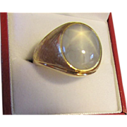 Big Gorgeous Blue Star Sapphire Ring in 18 Karat Gold
