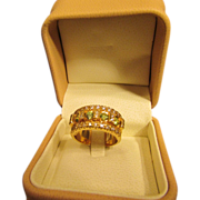 Demantoid Garnet Ring with Accenting Diamonds in 18 Karat Gold