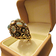 SALE 50s or 60s Chunky Vingtage Opal Dome Ring