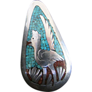 SALE Tommy Singer Native American Turquoise Chip Inlay Sterling Silver Rooster Pendant