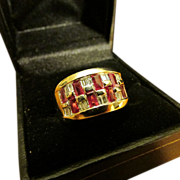Spectacular Ruby and Diamond 18 Karat Gold Ring