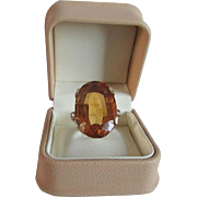 Huge Madeira Citrine in 14 Karat Gold with Accent Diamonds