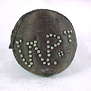 SOLD Antique Black Silk Pinball Pin Cushion, Initials in Old Pins