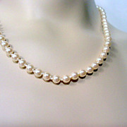 Vintage Givenchy Necklace, Designer Signed Hand Knotted Glass Pearls Vintage Jewellery
