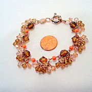 Vintage Givenchy charm bracelet, Stunning Sparkly Crystal Bead charms and peach beads, rose ..