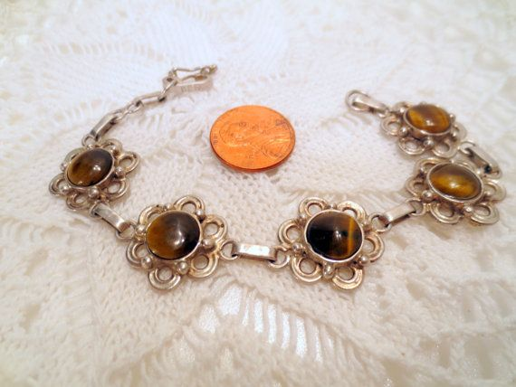 Vintage Tigers Eye Bracelet, 950 Sterling Silver, flower Settings vintage jewelry silver jewellery