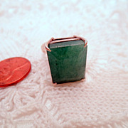 SOLD Vintage Green Ring, Signed 925 sterling silver vintage ring, size 8 vintage jewellery Eme