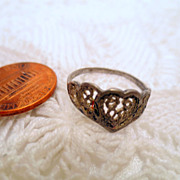 Vintage Filigree Ring, Sterling Silver 925 Heart ring size 6 vintage jewellery