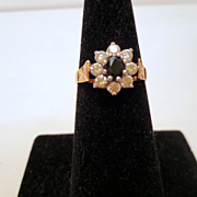 Vintage Sapphire flower Ring, 9 kt Gold and Cubic Zirconia vintage ring Size 7 Vintage Jewelle