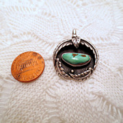 Vintage Squash Blossom Pendant, Native American Navajo Jewelry, Sterling Silver 925 and Turquo