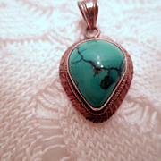 Vintage Turquoise Pendant with Bale, 925 Sterling Silver Native or Southwestern Style Vintage 