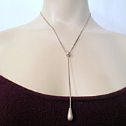 Vintage Tear Drop necklace, Sterling Silver marked 925 Dangle Drop Necklace Vintage jewellery