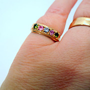 Vintage 10k Gold Ring, Colored Stones vintage ring Size 6 Vintage Jewellery Women's Jewelry