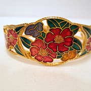 Vintage Flower Bracelet, Gold Tone And Enamel Vintage Hinged Bangle Vintage jewellery