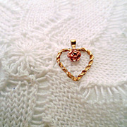 14K Gold Heart Pendant, Enhanced by rose gold flower, Vintage Jewelry Gold jewellery