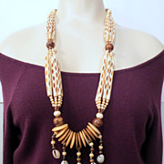 Vintage Tribal Bone Necklace, Ethnic Bone and Shell Vintage Jewellery Brown and off White Boho