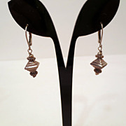Vintage Pyramid earrings, signed 925 sterling silver pierced earrings vintage jewelry figural 