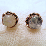 Vintage Moonstone earrings, sterling silver and white moonstone pierced earrings vintage jewel
