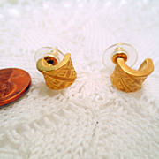 Vintage Givenchy Earrings, Designer Signed Pierced Earrings Gold Tone with Logos Vintage Jewel