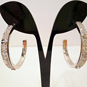 Vintage Givenchy Earrings, Rhinestone Silver Tone Industrial Style Hoop Pierced Earrings Signe