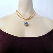 Vintage cloisonne Necklace, Double Strand Gold Tone Chain, Flower and Butterfly Blue Green Yel