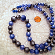 Vintage Moonglow Beads necklace, Glue and Gray Grey Vintage jewelry costume Jewellery