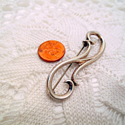 Vintage modern Brooch, Sterling Silver 925 pin vintage jewellery Scroll Pattern