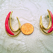 Vintage Enamel Earrings, Signed Designer Trifari pierced earrings, Vintage Jewelry Pink Enamel