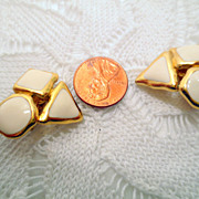 Vintage Designer Clip on Earrings, Gold Tone and Cream Enamel, signed Trifari vintage jewelry