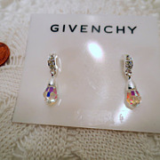 Vintage Givenchy Earrings, Crystal Jewels Designer jewellery Silver tone Vintage jewelry Pierc