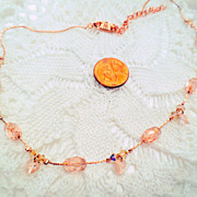 Vintage Givenchy Necklace, Designer Signed Peach Pink Faceted Crystal Beads vintage jewellery