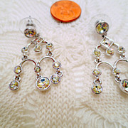 Vintage Givenchy Earrings, Rhinestones and Glass Jewels Signed Designer jewellery Silver tone 