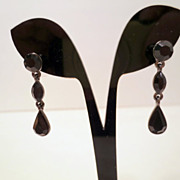 Vintage Givenchy Earrings, Rhinestones or Glass Jewels Signed Designer jewellery Silver tone B