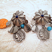 Vintage native style Charm Dangle Earrings Silver Tone Pierced earrings with feathers and turq