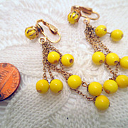 Vintage Dangle Earrings, Gold Tone And yellow Glass Drops Clip on Earrings Vintage jewelry Cos