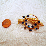 Vintage Blue brooch, Gold tone Blue rhinestone pin with leaf accents vintage jewelry costume j