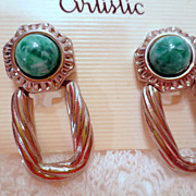 Vintage Doorknocker Earrings Green Glass and Silver tone Pierced Earrings Vintage jewellery De