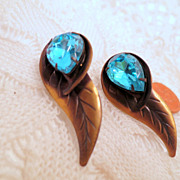 vintage Leaf Tear Drop Earrings, Blue Glass Jewel Pierced Earrings, Vintage Brass Finish Vinta