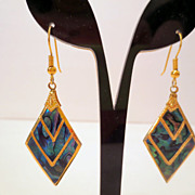 Vintage Chevron Earrings, Gold Tone and Blue Green Pua Shell or Abalone Pierced Earrings vinta