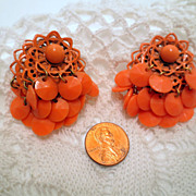 Vintage Orange Earrings, Dangle Cluster Clip ons orange peach vintage jewellery