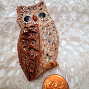 Vintage Owl Brooch, Hand made and Signed Ceramic Pin Vintage Jewellery